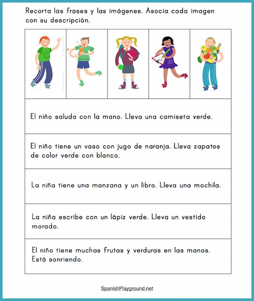 Pictures with two-sentence descriptions can be used for many elemenary Spanish reading activities.