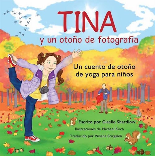 A Spanish yoga book with fall vocabulary and yoga poses.
