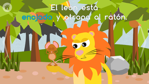 Kids tap to hear words in this Spanish app for kids.