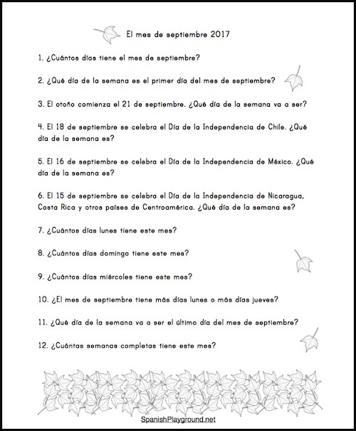 Questions for kids to practice Spanish days of the week and reading.