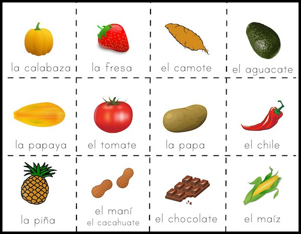 Use these picture cards of food from Latin America for vocabulary activities with kids.