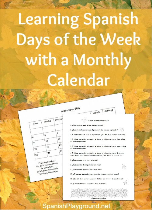 spanish days of the week  calendar questions
