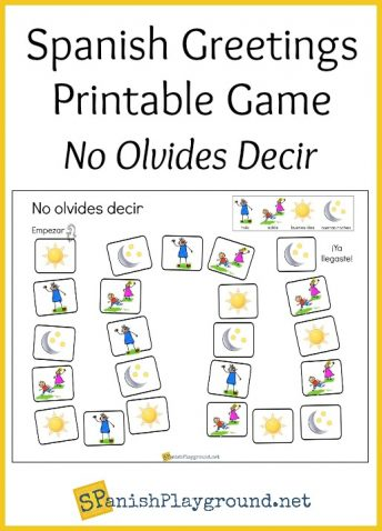 Children practice basic phrases with this printable Spanish greetings game.