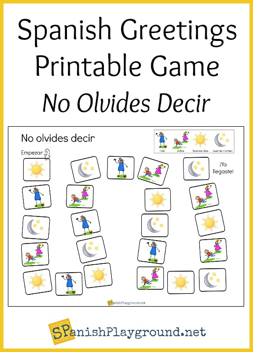 Spanish greetings game printable board spanish playground children practice basic phrases with this printable spanish greetings game m4hsunfo