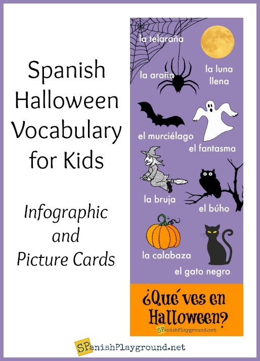Spanish Halloween infographic for kids to practice vocabulary as they talk about a favorite holiday.