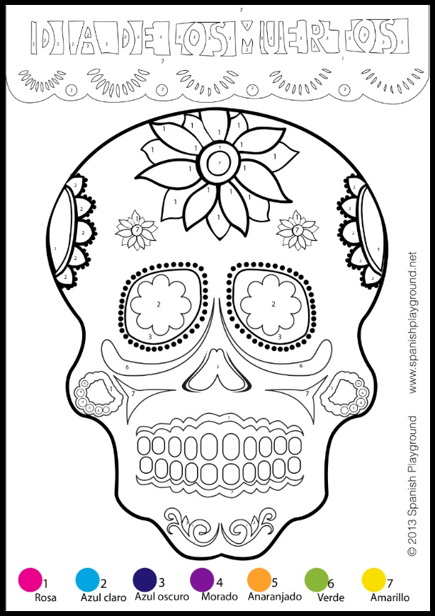 This color-by-number calavera is part of a collection of easy Day of the Dead crafts.