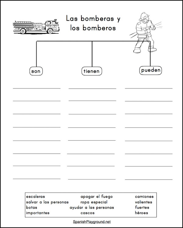 Spanish graphic organizers help students see connections and learn new words.
