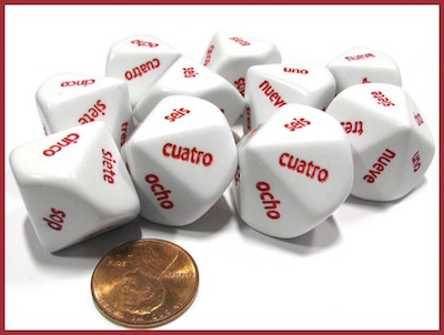 Word number dice are inexpensive Spanish language gifts for kids or teachers.