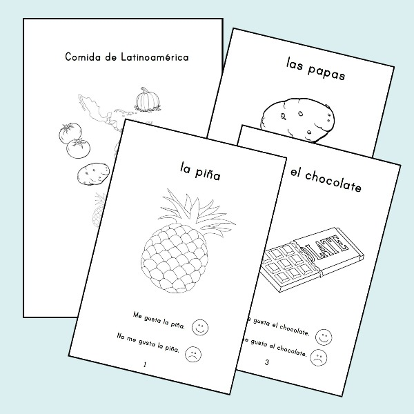 This printable book is one of the me gusta activities that you can use to also teach food vocabulary.
