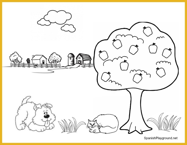 Coloring sheets like this one are excellent for Spanish preschool activities with TPR.