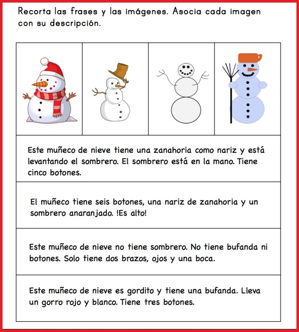Use this Spanish snowman activity to practice reading and vocabulary.