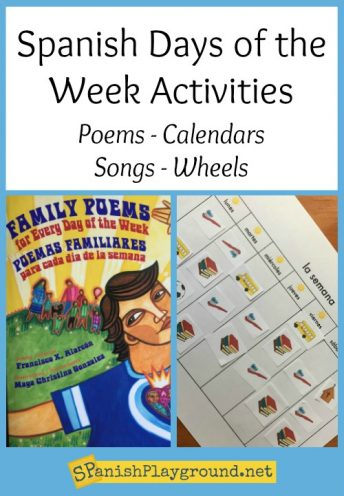A collection of Spanish days of the week activities including songs, poems, books, and printable calendars.