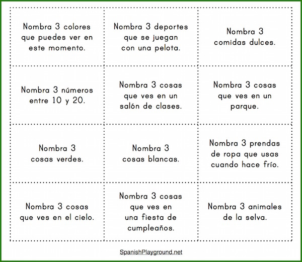 This Spanish vocabulary game helps students make connections between words in categories.