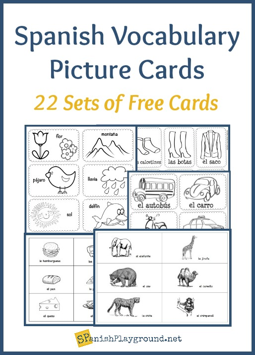 Spanish Vocabulary Picture Cards By Theme Spanish Playground