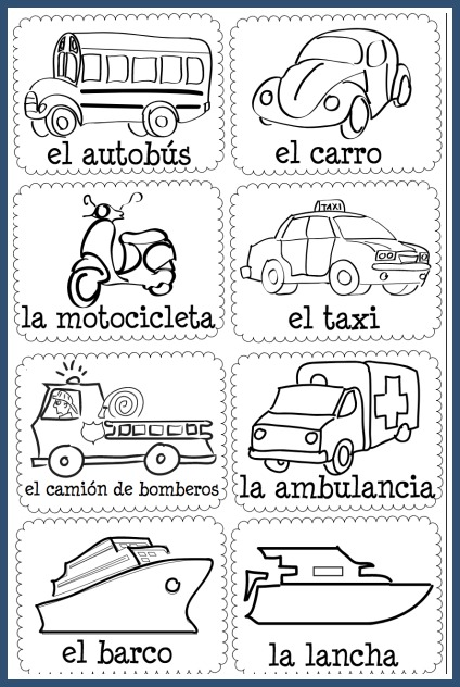 Learn transportation vocabulary with these Spanish vocabulary picture cards.