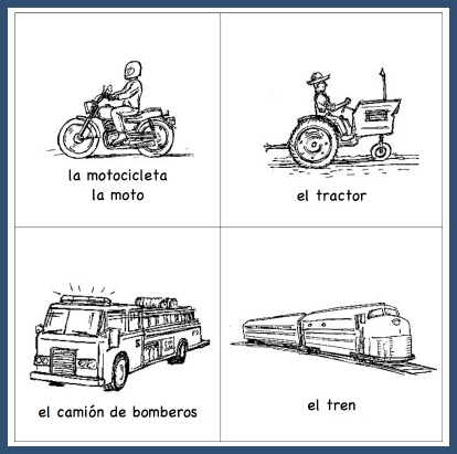 These Spanish vocabulary picture cards teach kids words for means of transportation.