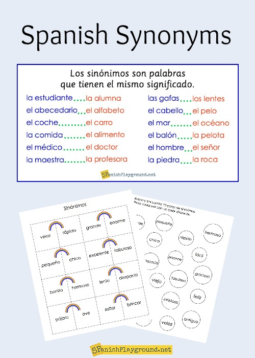 Spanish synonyms for elementary students spanish playground spanish synonyms for elementary students m4hsunfo