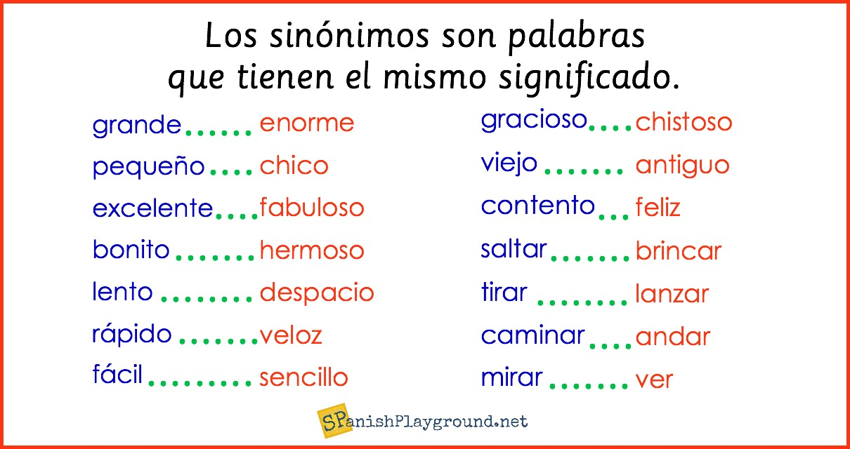 Spanish synonyms for elementary students spanish playground learning spanish synonyms expands vocabulary and increases reading and listening comprehension for elementary students m4hsunfo