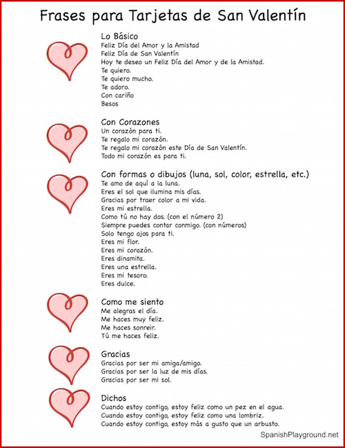 These Valentine phrases are perfect for cards and have vocabulary used in the printable Spanish bingo game.