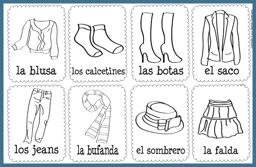 Use these printable vocabulary cards to reinforce words in Spanish clothing songs.