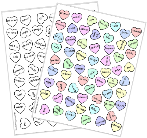 Use this candy hearts activity to introduce the vocabulary in the printable Spanish Bingo game.