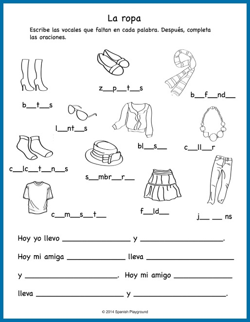 Expand on learning in Spanish clothing songs with this clothing worksheet.