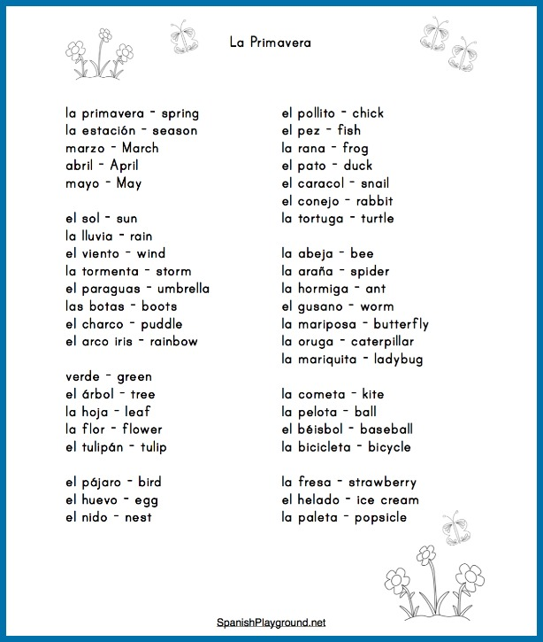 Use these Spanish spring activities and vocabulary list with children learning a second language.
