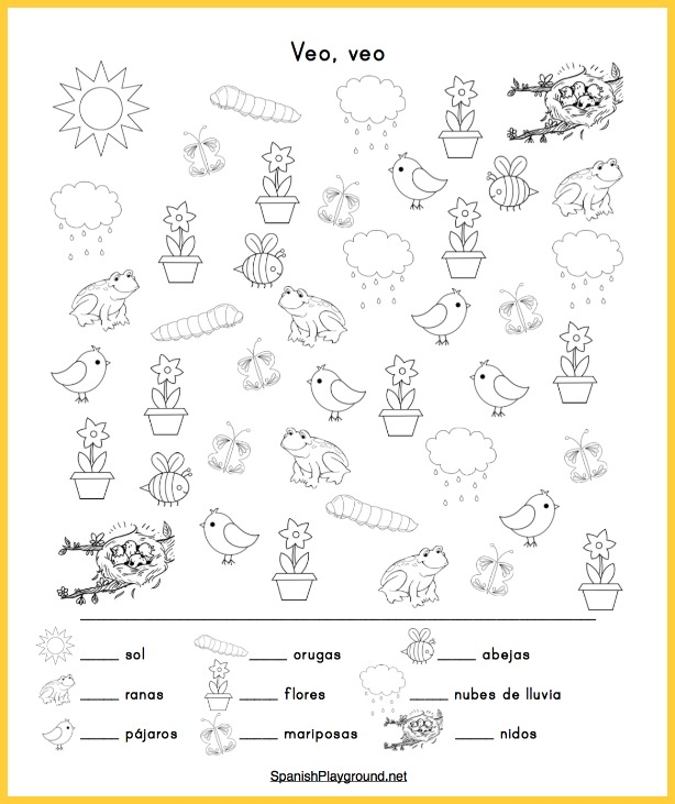 Spanish spring activities like this I Spy game teach vocabulary as kids have fun.