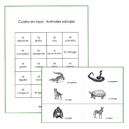 Students connect 4 theme words in these Spanish vocabulary review games.