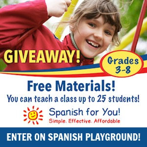 A Spanish for kids giveaway of an elementary school curriculum.