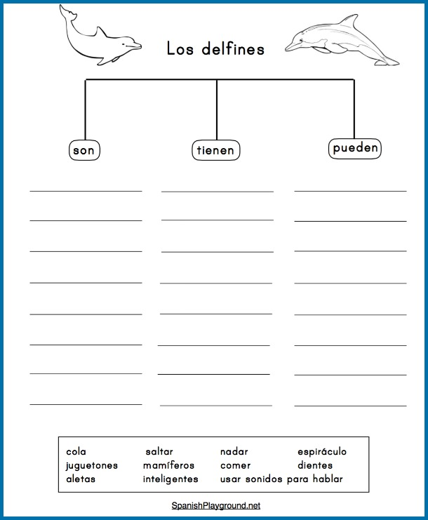 Graphic organizers are effective dolphin activities in Spanish for language learners.
