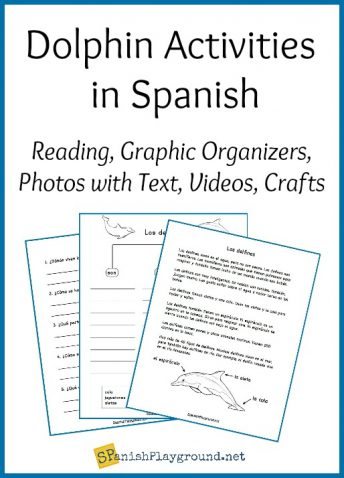 Dolphin activities in Spanish fit into an Earth Day or animal theme.