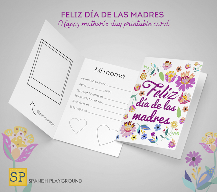 graphic regarding Printable Mothers Day Cards for Wife named Printable Moms Working day Playing cards within Spanish - Spanish Playground
