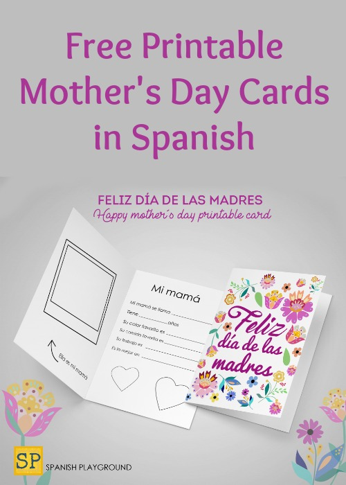 graphic regarding Happy Mothers Day Printable Cards titled Printable Moms Working day Playing cards within just Spanish - Spanish Playground