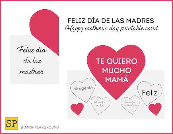 picture about Happy Mothers Day Printable Cards identify Printable Moms Working day Playing cards within just Spanish - Spanish Playground