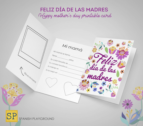 picture about Printable Mothers Day Cards for Kids named Printable Moms Working day Playing cards inside Spanish - Spanish Playground