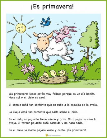 Kids learn seasonal vocabulary with this picture based Spanish reading for spring.