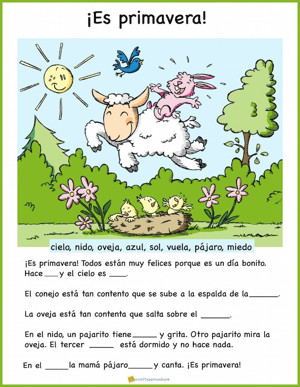 Students complete the missing words in this easy Spanish reading for spring.