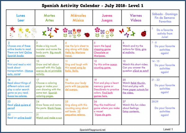 Spanish for kids on a summer activity calendar.