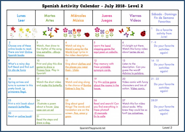 spanish for kids on a summer activity calendar