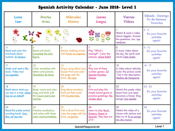 The Spanish Playground summer activity calendar 2018 has music, art and reading activities for elementary students.