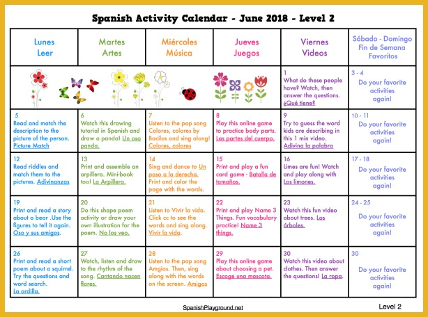 Try reading, art activities, games and songs in Spanish with the summer activity calendar 2018.