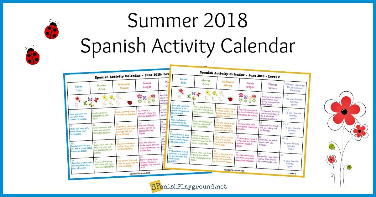 summer activity calendar 2018 for spanish learning