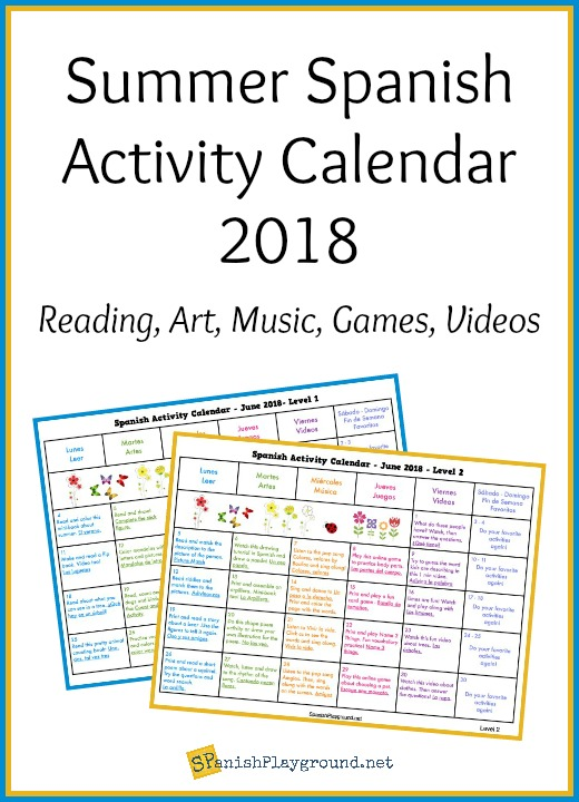 summer activity calendar 2018 for spanish learning