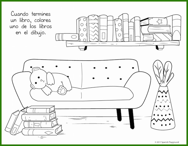 Kids color part of this printable Spanish reading progress sheet each time they finish reading a book.