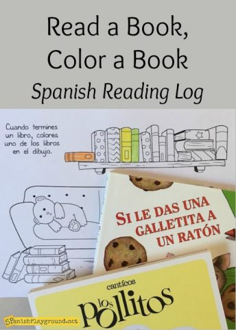 When kids finish a book they color a book on this Spanish reading progress sheet.