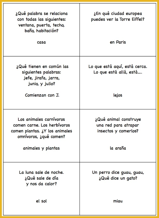 image relating to Printable Trivia Questions for Middle School Students named Spanish Trivia Issues: Printable Playing cards - Spanish Playground