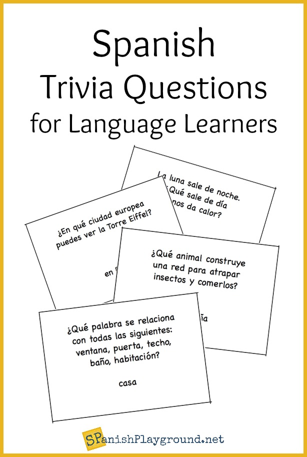 graphic relating to Printable Quizzes for Fun referred to as Spanish Trivia Thoughts: Printable Playing cards - Spanish Playground