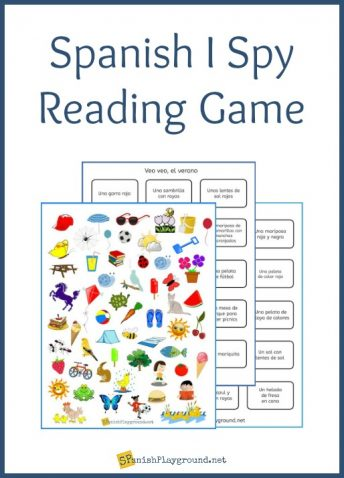A printable Spanish I Spy reading game wiith board and game cards.