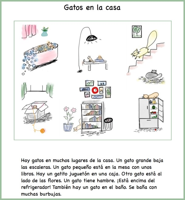 A la casa vocabulary activity and reading practice in Spanish using illustratoins of cats.